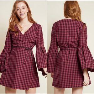 NEW ModCloth Jack BB Dakota Gingham Wrap Dress L